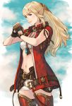 1girl bandeau belt blonde_hair blue_eyes blue_sky boots cowboy_shot earrings final_fantasy final_fantasy_xiv fingerless_gloves fist_in_hand gloves hair_ornament highres jewelry leg_armor long_hair looking_at_viewer lyse_hext makimura_shunsuke midriff navel pendant short_shorts shorts sky sleeveless smile solo standing strapless thigh-highs thigh_boots