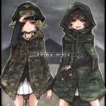 2girls adjusting_clothes adjusting_hat akiyama_yukari binoculars blonde_hair blue_jacket brown_eyes brown_hair camouflage commentary english erwin_(girls_und_panzer) girls_und_panzer goggles goggles_on_headwear green_hat hat holding_binoculars hood hood_up jacket long_sleeves military military_hat military_uniform miniskirt multiple_girls ooarai_military_uniform open_mouth outdoors peaked_cap pleated_skirt pointy_hair rain raincoat short_hair skirt smile smirk standing toganoo uniform white_skirt