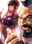 1boy 1girl backlighting beard belt black_eyes black_hair candy chest_hair commentary_request dress facial_hair food high_score_girl highres hime_cut iku_(ikuchan_kaoru) lens_flare light_particles lollipop long_hair looking_at_viewer mohawk oono_akira pointing street_fighter zangief