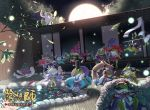 abe_no_seimei_(onmyoji) animalization aoandon arrow_through_hat black_hair branch candy_apple character_request daitengu door fan fence fish food frog full_moon hat itohana japanese_clothes lying moon night official_art on_stomach onmyoji outdoors paper_fan scenery shuten_douji_(onmyoji) sitting standing tate_eboshi water watermark yuki_onna_(onmyoji)