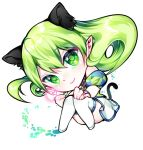 1girl animal_ears bracelet chibi chuki_(lydia) detached_sleeves elsword eyebrows_visible_through_hair footprints green_eyes green_hair heart jewelry pointy_ears rena_(elsword) smile tail