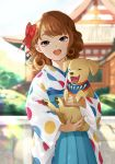 1girl :o antweiyi architecture blue_eyes blue_kimono blurry blurry_background bow brown_hair curly_hair day east_asian_architecture hair_bow happy_new_year holding_dog japanese_clothes kimono medium_hair nengajou new_year open_mouth original outdoors polka_dot red_bow solo upper_body