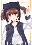 1girl absurdres alisa_(girls_und_panzer) animal_hat artist_name bangs black_hat black_jacket blush brown_eyes brown_hair casual cat_hat closed_mouth cmpede commentary eyebrows_visible_through_hair freckles frown girls_und_panzer hair_grab hat head_tilt highres jacket letterman_jacket long_sleeves looking_at_viewer open_clothes open_jacket shirt short_hair short_twintails solo standing twintails twitter_username upper_body white_shirt