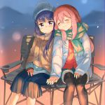 2girls :3 black_legwear blue_hair blue_jacket blue_skirt blurry blush chair closed_eyes closed_mouth depth_of_field eyebrows_visible_through_hair garun_wattanawessako green_scarf hair_between_eyes hand_holding hat head_tilt jacket kagamihara_nadeshiko long_hair long_sleeves looking_at_viewer multiple_girls open_clothes open_jacket pantyhose pink_hair pleated_skirt scarf shawl shima_rin shorts sitting skirt sleeves_past_wrists very_long_hair violet_eyes yurucamp