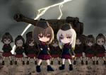6+girls akaboshi_koume ankle_boots arm_behind_back arms_behind_head black_footwear black_hat black_jacket black_legwear blue_eyes boots brown_eyes brown_hair chibi clenched_hand closed_mouth clouds cloudy_sky commentary crossed_arms dress_shirt emblem extra eyebrows_visible_through_hair frown garrison_cap geshiko_(girls_und_panzer) girls_und_panzer glasses ground_vehicle hat itsumi_erika jacket kuromorimine_military_uniform lightning long_sleeves mauko_(girls_und_panzer) military military_hat military_uniform military_vehicle miniskirt motor_vehicle multiple_girls nishizumi_maho outdoors parade_rest pleated_skirt red_shirt red_skirt ritaiko_(girls_und_panzer) round_eyewear sangou_(girls_und_panzer) shirt short_hair silver_hair skirt sky socks standing_at_attention tank tiger_i toganoo uniform very_short_hair
