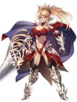 1girl age_progression blonde_hair breasts cape cleavage closed_mouth collarbone fate/apocrypha fate/grand_order fate_(series) full_body green_eyes highres horns large_breasts leotard long_hair looking_at_viewer mordred_(fate) mordred_(fate)_(all) nasaniliu pauldrons ponytail simple_background sword toned weapon white_background