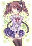 1girl ;d absurdres animal_ears bangs blue_eyes blush bow breasts brown_legwear cat_ears cat_girl cat_tail center_frills collarbone drill_hair eyebrows_visible_through_hair fingernails flower frilled_shirt frilled_skirt frills hair_between_eyes hair_flower hair_ornament hairclip head_tilt highres kouta. leaf_hair_ornament long_hair medium_breasts one_eye_closed open_mouth original pink_flower pleated_skirt purple_shirt purple_skirt red_bow shirt sidelocks skirt smile solo tail tail_raised thigh-highs twin_drills twintails x_hair_ornament