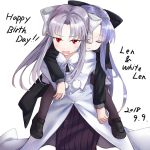 2girls albino apo_(apos2721) bangs black_bow blue_hair blush bow capelet carrying character_name coattails dated eyebrows_visible_through_hair fang flat_chest grey_bow hair_bow happy_birthday len loafers long_hair long_skirt melty_blood multiple_girls pantyhose piggyback pointy_ears red_eyes shoes silver_hair skirt sleeping sleeping_on_person tsukihime white_len