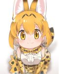 1girl :3 animal_ears bare_shoulders belt blonde_hair blush bow bowtie center_frills commentary_request elbow_gloves eyebrows_visible_through_hair from_above gloves high-waist_skirt kemono_friends multiple_girls serval_(kemono_friends) serval_ears serval_print serval_tail short_hair skirt sleeveless solo tail tatsuno_newo yellow_eyes