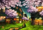awning cherry_blossoms grass lantern night no_humans original outdoors paper_lantern power_lines railing scenery shooting_star sign sliding_doors stream tokyogenso translation_request tree watermark