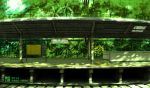 day forest green nature no_humans original outdoors railroad_tracks real_world_location scenery shinbashi sign tokyogenso train_station train_station_platform translation_request