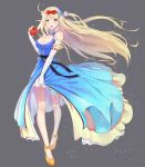 1girl 5555_96 alternate_costume apple azur_lane bangs bare_shoulders blonde_hair blue_dress blue_eyes blush bow breasts centaur_(azur_lane) cleavage dress elbow_gloves elf floating_hair food fruit full_body gloves hair_bow hair_ornament highres holding holding_fruit leg_garter light_particles long_hair looking_at_viewer mary_janes medium_breasts open_mouth orange_footwear pointy_ears red_bow shoes sidelocks signature sleeveless sleeveless_dress smile snow_white solo very_long_hair white_gloves