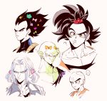 ... 5boys ? alternate_hairstyle antennae bald bangs black_shirt blue_eyes blue_flower close-up confused dragon_ball dragonball_z expressionless eyebrows_visible_through_hair eyelashes face father_and_son flower frown green_ribbon grin hair_ornament hair_ribbon hairclip heart jacket kuririn looking_away looking_down male_focus multiple_boys onkywi piccolo pink_ribbon pointy_ears polka_dot_ribbon purple_flower purple_hair ribbon shirt simple_background smile son_gokuu speech_bubble star trunks_(dragon_ball) twintails upper_body vegeta white_background yellow_ribbon
