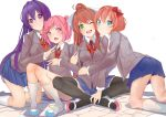 4girls ;d blue_skirt brown_hair commentary d: doki_doki_literature_club english_commentary eyebrows_visible_through_hair eyes_visible_through_hair fang green_eyes grey_jacket hair_between_eyes hair_ornament hair_ribbon hairclip hand_on_another's_shoulder highres jacket kneehighs kneeling long_hair looking_at_viewer monika_(doki_doki_literature_club) multiple_girls natsuki_(doki_doki_literature_club) one_eye_closed open_mouth pink_eyes pink_hair pleated_skirt ponytail purple_hair ribbon sayori_(doki_doki_literature_club) school_uniform shoes short_hair simple_background sitting skirt smile two_side_up v-shaped_eyebrows very_long_hair violet_eyes white_background white_legwear white_ribbon xhunzei yuri_(doki_doki_literature_club)