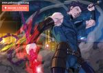 1boy belt blue_bodysuit bodysuit bracer building cityscape commentary deviantart_username diarmuid_ua_duibhne_(fate/grand_order) dual_wielding elbow_sleeve fate/grand_order fate/zero fate_(series) holding holding_lance lance lancer_(fate/zero) male_focus mole mole_under_eye muscle night night_sky parted_lips patreon_username polearm short_hair shoulder_armor sky sleeveless smoke solo weapon xong yellow_eyes