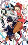 black_hair brown_hair confetti cuffs dual_persona handcuffs highres hood hoodie kamen_rider kamen_rider_drive_(series) kamen_rider_mach necktie one_eye_closed police police_uniform policewoman scarf shijima_gou shijima_kiriko shinonoko_(tubamecider) shoes siblings sneakers streamers uniform