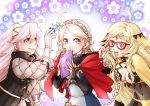 3girls ahoge blonde_hair blue_eyes book braid breasts bridal_gauntlets capelet center_opening circlet cleavage closed_mouth covered_navel ebi_puri_(ebi-ebi) eponine_(fire_emblem_if) fire_emblem fire_emblem_heroes fire_emblem_if flower_(symbol) glasses gloves hair_ornament hairband holding holding_book long_hair long_sleeves medium_breasts multiple_girls nintendo open_book open_mouth ophelia_(fire_emblem_if) pink_eyes pink_hair smile soleil_(fire_emblem_if) twin_braids twintails white_hair