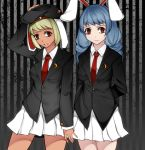 2girls alternate_costume animal_ears aoshima arm_up arms_behind_back beret black_background black_hat blazer blonde_hair blue_hair breasts commentary_request cosplay cowboy_shot grey_background hand_on_headwear hat highres jacket long_hair long_sleeves looking_at_viewer medium_breasts miniskirt multiple_girls necktie parted_lips pleated_skirt rabbit_ears red_eyes red_neckwear reisen_udongein_inaba reisen_udongein_inaba_(cosplay) ringo_(touhou) seiran_(touhou) shirt short_hair skirt standing striped striped_background tan thighs touhou vertical-striped_background vertical_stripes white_shirt white_skirt wing_collar