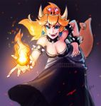 1girl artist_request bare_shoulders black_dress blonde_hair blue_eyes bowser bowsette bracelet breasts brooch collar crown dress earrings fangs fire genderswap genderswap_(mtf) hand_on_hip horns jewelry looking_at_viewer mario_(series) new_super_mario_bros._u_deluxe nintendo pink_lipstick ponytail smug solo spiked_bracelet spiked_collar spikes super_crown super_mario_bros. tail
