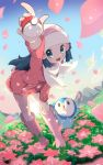 1girl beanie blue_eyes blue_hair boots chorimokki coat creatures_(company) floral_background game_freak gen_4_pokemon hat hikari_(pokemon) horizon leaning_forward looking_at_viewer mountain nintendo no_pants petals pink_footwear piplup poke_ball pokemon pokemon_(game) pokemon_dppt pokemon_platinum scarf sunlight white_scarf winter_clothes winter_coat