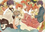 1boy 1girl blue_eyes bouquet braid carrying couple dress eating fine flower food formal fushigiboshi_no_futago_hime hat hetero long_hair long_sleeves multiple_persona princess_carry purple_hair red_eyes redhead shade_(fushigiboshi_no_futago_hime) suit twin_braids twintails white_dress xi_yuu