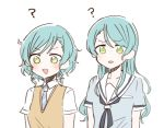 2girls :d :o ? aqua_hair bang_dream! blue_neckwear blue_shirt blush bow green_eyes hair_bow hanasakigawa_school_uniform haneoka_school_uniform hikawa_hina hikawa_sayo itomugi-kun long_hair multiple_girls neckerchief necktie open_mouth school_uniform serafuku shirt short_hair short_sleeves siblings side_braids simple_background sisters smile striped_neckwear sweater_vest twins upper_body white_background white_shirt