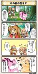 /\/\/\ 2girls 4koma :o ahoge braid brown_hair character_name closed_eyes comic dot_nose emphasis_lines eyebrows_visible_through_hair flower_knight_girl forest hair_ornament hat hyoutan_(flower_knight_girl) kurumi_(flower_knight_girl) long_hair long_sleeves multiple_girls nature o_o open_mouth orange_hair pointing skirt sparkle speech_bubble squirrel tagme translation_request yellow_eyes |_|
