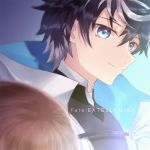 1boy 1girl black_hair blue_eyes brown_hair cape charlemagne_(fate) close-up closed_mouth endlessfalling eyebrows_visible_through_hair fate/extella_link fate/extra fate_(series) grin kishinami_hakuno_(female) long_hair looking_at_another looking_down short_hair smile smirk standing white_cape