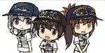 3girls alternate_costume blush_stickers brown_eyes brown_hair character_name chibi commentary_request folded_ponytail gintoki_(gin'iro_no_kantai) grey_eyes grey_hair hat inazuma_(jmsdf) inazuma_(kantai_collection) japan_self-defense_force kaga_(jmsdf) kaga_(kantai_collection) kantai_collection military multiple_girls open_mouth side_ponytail smile suzutsuki_(jmsdf) suzutsuki_(kantai_collection) v_arms