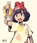 +_+ 1girl :d bangs beanie black_hair bob_cut chichibu_(chichichibu) collarbone creatures_(company) floral_print game_freak grey_eyes hat mizuki_(pokemon) motion_lines nintendo open_mouth pokemon pokemon_(creature) pokemon_(game) pokemon_sm red_hat shirt short_hair short_sleeves smile solo swept_bangs t-shirt teeth yellow_shirt