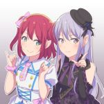 2girls aiba_aina ascii_media_works ayasaka bang_dream! bangs black_hat black_ribbon bow bushiroad commentary_request company_connection corset crossover detached_sleeves dress eyebrows_visible_through_hair furihata_ai gradient gradient_background green_eyes hair_bow hand_up hands_up hat hat_ribbon kimi_no_kokoro_wa_kagayaiteru_kai? kurosawa_ruby long_hair love_live! love_live!_sunshine!! minato_yukina multiple_girls namesake necktie outline pink_bow pink_neckwear pink_scrunchie pinky_out purple_hair purple_neckwear redhead ribbon scrunchie seiyuu_connection smile tokyo_mx two_side_up upper_body white_outline wrist_scrunchie yellow_eyes