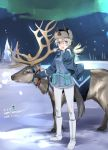1girl animal_ears aohashi_ame aurora black_gloves black_hat blonde_hair blue_eyes blue_jacket boots character_name dated dog_ears dog_tail eila_ilmatar_juutilainen english fur_hat gloves hand_in_hair happy_birthday hat highres jacket knee_boots long_hair military military_uniform night night_sky pantyhose reindeer sky snow solo star_(sky) starry_sky strike_witches tail uniform ushanka white_footwear white_legwear wind wind_lift world_witches_series zipper