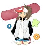 1girl baseball_cap blue_eyes brown_hair canari commentary_request creatures_(company) denim denim_shorts game_freak hat highres jacket long_hair looking_at_viewer nintendo poke_ball_symbol pokemon pokemon_(game) pokemon_bw ponytail shorts smile solo touko_(pokemon)