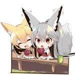 2girls :d ^_^ animal_ear_fluff animal_ears bangs big_head blonde_hair blush brown_sweater chibi closed_eyes closed_eyes cup eating eyebrows_visible_through_hair food food_on_face fox_ears fox_girl fox_tail grey_hair hair_between_eyes head_tilt holding holding_food japanese_clothes kimono long_sleeves multiple_girls obi open_mouth original red_eyes sash sitting skirt smile sweater tail tail_raised veranda white_kimono white_skirt wide_sleeves yunomi yuuji_(yukimimi)