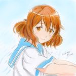 1girl brown_eyes brown_hair hibike!_euphonium looking_at_viewer marker_(medium) oumae_kumiko potekite school_uniform serafuku short_hair smile solo traditional_media