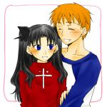 1boy 1girl black_hair blue_eyes blush closed_eyes cute emiya_shirou fate/stay_night fate/stay_night_unlimited_blade_works fate_(series) hair_ribbon long_hair looking_at_another love open_eyes orange_hair ribbon short_hair simple_background smile sweater tachibana_(anything_you) teeth tohsaka_rin turtleneck turtleneck_sweater twintails