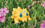 blue_eyes creature flower full_body gen_5_pokemon grass joltik morii_yuka nature no_humans official_art photo pokemon pokemon_(creature) pokemon_trading_card_game solo standing third-party_source