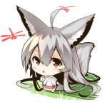 1girl absurdly_long_hair ahoge animal animal_ears bangs barefoot big_head bug chibi dragonfly eyebrows_visible_through_hair fox_ears fox_girl fox_tail from_above grey_hair hair_between_eyes insect japanese_clothes kimono long_hair long_sleeves looking_at_viewer looking_up original red_eyes solo standing tail tail_raised very_long_hair white_kimono wide_sleeves yuuji_(yukimimi)