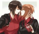 2girls arm_around_neck bangs black_jacket brown_eyes brown_hair commentary dress_shirt eyebrows_visible_through_hair food food_in_mouth girls_und_panzer gradient gradient_background grey_background holding holding_food incest jacket jacket_on_shoulders kuromorimine_military_uniform long_sleeves looking_at_another military military_uniform mouth_hold multiple_girls nishizumi_maho nishizumi_miho pocky pocky_kiss red_shirt shared_food shirt short_hair uniform wing_collar yuri yuuyu_(777)