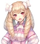 1girl bangs blonde_hair blush bow breasts buttons capelet center_frills crossed_bangs dress drill_hair earrings eyebrows_visible_through_hair fire_emblem fire_emblem:_kakusei frills hair_bow head_tilt jewelry jurge light_brown_hair long_hair mariabel_(fire_emblem) medium_breasts nintendo open_mouth pink_capelet pink_dress red_eyes simple_background solo v-shaped_eyebrows white_background white_bow