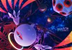 anniversary commentary_request constellation copyright_name dark dark_matter dated english extra_eyes galaxy halo hoshi_no_kirby hoshi_no_kirby_64 icosahedron kirby_(series) kirby_64 kurosiro light_particles miracle_matter nintendo no_humans one-eyed red_eyes slit_pupils space star tail upside-down watermark wings zero_two_(kirby)