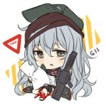 1girl assault_rifle bangs blush boots brown_eyes chibi commentary english english_commentary eyebrows_visible_through_hair flat_cap full_body g11 g11_(girls_frontline) girls_frontline green_hat green_jacket grey_hair gun hair_between_eyes hat hitsukuya holding holding_gun holding_pillow holding_weapon jacket looking_at_viewer object_namesake parted_lips pillow red_footwear rifle shirt sitting solo weapon white_background white_shirt