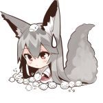 1girl animal_ears bangs barefoot big_head blush chibi closed_mouth eyebrows_visible_through_hair fox_ears fox_girl fox_tail grey_hair hair_between_eyes holding japanese_clothes kimono long_sleeves obi original red_eyes sash sitting solo sweatdrop tail white_kimono wide_sleeves yuuji_(yukimimi)