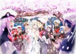 5boys 5girls absurdres bangs bare_shoulders bell black_hair blonde_hair blue_eyes blue_hair blush blush_stickers breasts bridal_veil brown_hair capelet cherry_blossoms cleavage closed_eyes collarbone commentary commentary_request couple darling_in_the_franxx dress english_commentary fangs flower futoshi_(darling_in_the_franxx) glasses gorou_(darling_in_the_franxx) green_eyes green_shorts grey_dress grey_legwear grey_shirt hair_ornament hairband hand_holding hand_up hat hetero highres hiro_(darling_in_the_franxx) holding holding_bell horns huge_filesize ichigo_(darling_in_the_franxx) ikuno_(darling_in_the_franxx) jewelry kokoro_(darling_in_the_franxx) light_brown_hair long_hair long_sleeves looking_at_another medium_breasts miku_(darling_in_the_franxx) military military_uniform mitsuru_(darling_in_the_franxx) multiple_boys multiple_girls necktie oni_horns peaked_cap petals pink_hair red_horns red_neckwear redhead ring shirt shorts sleeveless sleeveless_dress socks temodemo_nor thick_eyebrows tree uniform veil violet_eyes wedding wedding_dress wedding_ring white_dress white_hairband yellow_eyes zero_two_(darling_in_the_franxx) zorome_(darling_in_the_franxx)