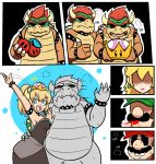 2girls 3boys 4koma alternate_color arm_around_waist arm_up artist_request black_dress blonde_hair blue_eyes blush bowser bowsette bracelet breasts choker clone collar comic crown double_cherry dress dual_persona facial_hair fang flat_color genderswap genderswap_(mtf) gloves hat heavy_breathing highres horns jewelry luigi mario mario_(series) mini_crown multiple_boys multiple_girls mustache new_super_mario_bros._u_deluxe nintendo ponytail princess_peach selfcest shaded_face silent_comic smile spiked_armlet spiked_bracelet spiked_collar spiked_shell spikes spitting spitting_blood super_crown super_mario_3d_world super_mario_bros. super_mario_odyssey sweatdrop thick_eyebrows thumbs_up turn_pale waving