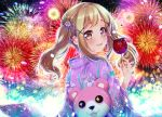 +_+ 1girl :3 :d bang_dream! bangs blonde_hair blush candy_apple commentary_request festival fireworks floral_print flower food hair_flower hair_ornament holding holding_food ichigaya_arisa japanese_clothes kimono looking_at_viewer looking_back michelle_(bang_dream!) open_mouth purple_kimono sidelocks smile solo tsurugi_hikaru twintails x_hair_ornament yellow_eyes