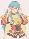 1girl aqua_hair armor blue_eyes breastplate cape eirika fire_emblem fire_emblem:_seima_no_kouseki fire_emblem_heroes glasses highres jivke long_hair looking_at_viewer nintendo skirt smile solo