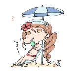 1girl bikini brown_eyes brown_hair chibi cup drinking_glass drinking_straw eyebrows_visible_through_hair flower full_body hair_between_eyes hair_flower hair_ornament holding holding_cup kantai_collection kuromaru_(dottomatto) littorio_(kantai_collection) long_hair midriff navel parasol ponytail red_bikini simple_background sitting solo swimsuit umbrella wavy_hair white_background