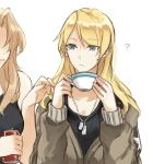 2girls ? alternate_hairstyle black_shirt blonde_hair blue_eyes brown_jacket can cosplay cowboy_shot cup darjeeling dog_tail emblem eyebrows_visible_through_hair girls_und_panzer hair_down hair_intakes holding holding_can holding_cup jacket kay_(girls_und_panzer) kay_(girls_und_panzer)_(cosplay) light_frown long_hair long_sleeves looking_at_another multiple_girls no_eyes saunders_military_uniform shirt side-by-side simple_background soda_can standing tail tank_top teacup white_background yuri yuuyu_(777)