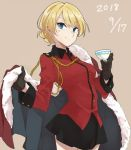 1girl 2018 black_gloves black_skirt blonde_hair blue_eyes braid cape cape_removed capelet darjeeling dated eyebrows_visible_through_hair french_braid fur-trimmed_capelet fur_trim girls_und_panzer gloves holding_cape looking_at_viewer ree_(re-19) short_hair skirt smile solo st._gloriana's_military_uniform tan_background